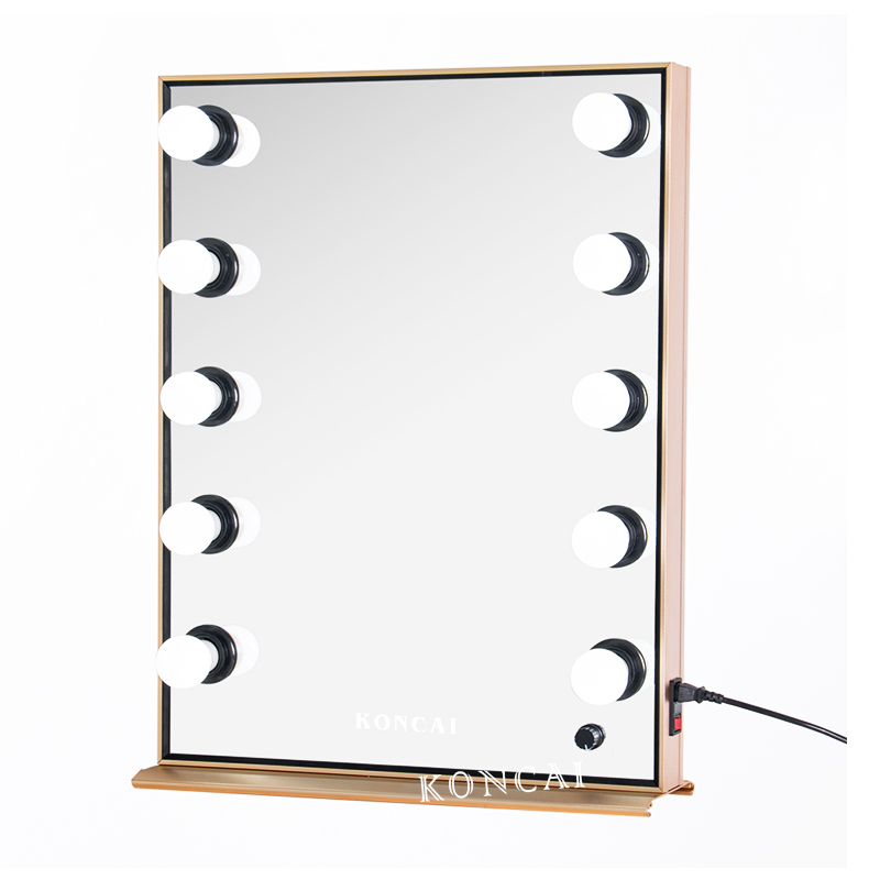 KONCAI 10 led bulbs Hollywood Style Vanity Lighted Makeup Mirror KC-570 Gold