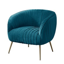 Leisure Pleated Back Blue Green Teal Club Sofa Chair for Restaurant Hotel Living Room Furniture with Golden Legs