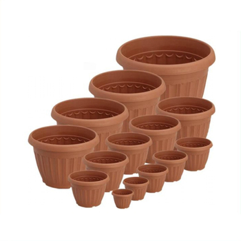 Various size terracotta color plastic flower pot