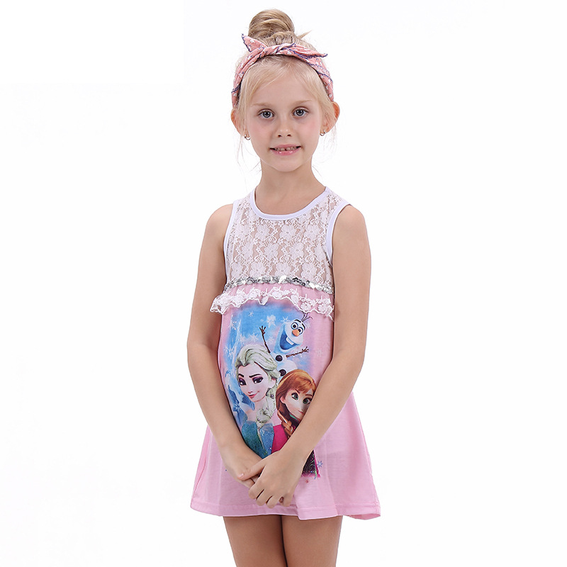 2020 New fashion kids dresses for Girls Cartoon Print Lace Princess Dresses Sleeveless for Young baby Girls clothes