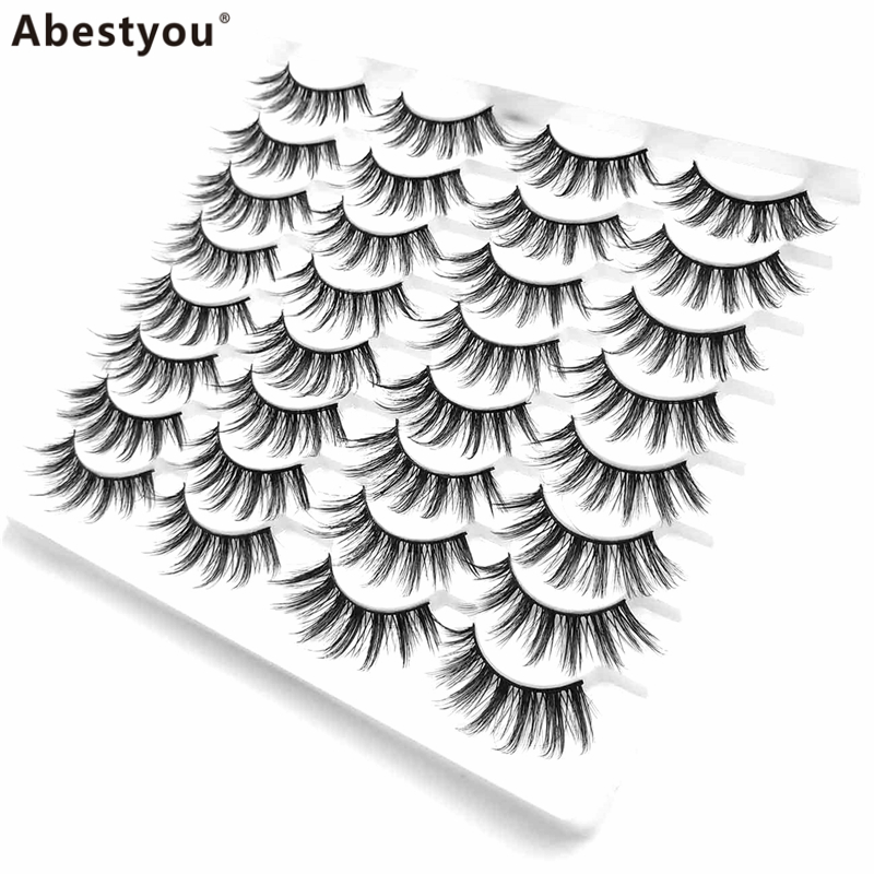 Abestyou 16pair 25mm 3D Faux Mink Lashes Natural Long False Eyelashes Volume Fake Lashes Makeup Extension Eyelash maquiagem