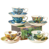 New Van gogh painting design wholesale porcelain coffee cup and saucer