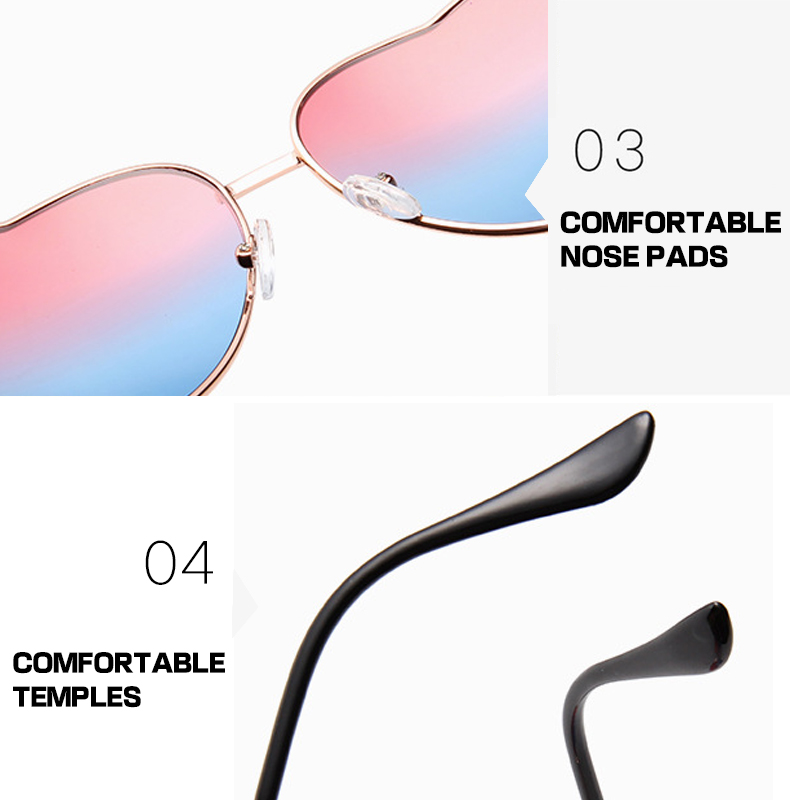 Customized Logo 20 Colors Clear Metal Frame  Men Women Heart Sunglasses