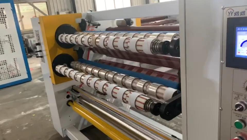 High speed plastic bopp gum tape jumbo roll cutting slitting machine