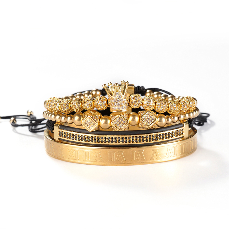 F172 luxury jewelry wholesale custom 18k gold plated set adjustable cuff man crown beads bracelet bangle for gifts
