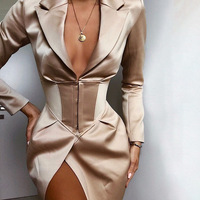 new arrivals women clothing deep v-neck long sleeve slim dress