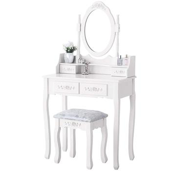 Hot Selling Mirrored Dressing Table with 2 Drawers and Stool