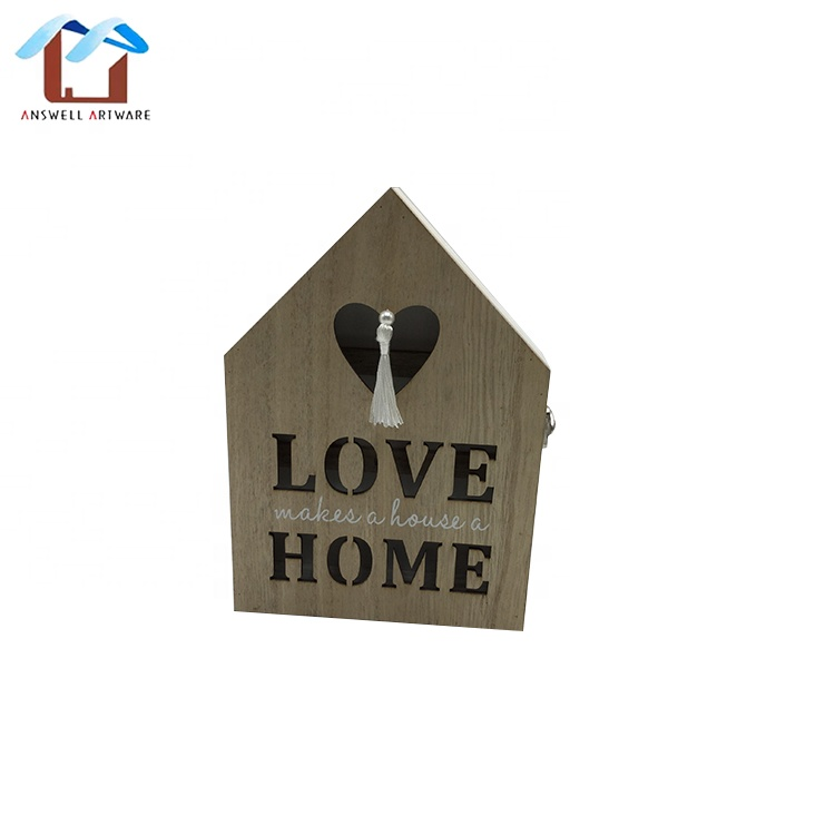 Personalized house shaped custom wooden key storage box keychain organizer wood holder