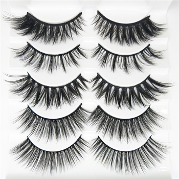 5 pairs Natural False Eyelashes 3D Handmade Fake Lashes Eye Makeup Wispy Faux Mink Eyelashes Extension Volume Soft Mink Lashes