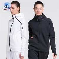 Wholesale Fashion side zipper hoodies USA Flag embroidered sport women hoodie