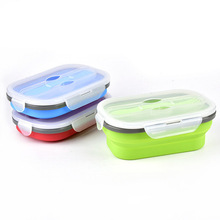 Lebensmittel <span class=keywords><strong>Kühler</strong></span> Container Lagerung Boxen Picknick Silikon Folding Lunch Box Mit Löffel Schule Büro Tragbare Bento Box Organizer