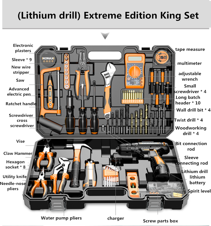 Multi-function home hardware kit household toolbox electrician dedicated tools