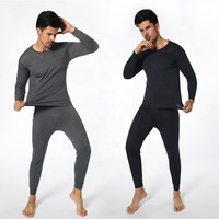 Man's thermal underwear round neck suit solid color Slim bottoming long underwear