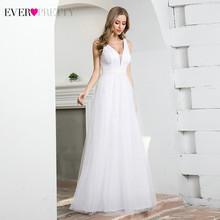 Элегантные белые свадебные платья Ever Pretty EP00604CR, а-силуэта, с двойным v-образным вырезом, без рукавов, с блестками, фатиновые Бальные платья в г...(China)
