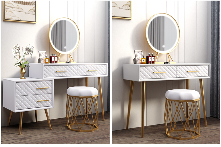 Dressing Table Mirrors Dresser Iron Golden Gold White Nordic Metal Technology Makeup China Vanity Desk