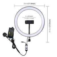 Stock Offer PULUZ 12 inch RGB Dimmable LED professional audio, video & lighting with Phone Clamp