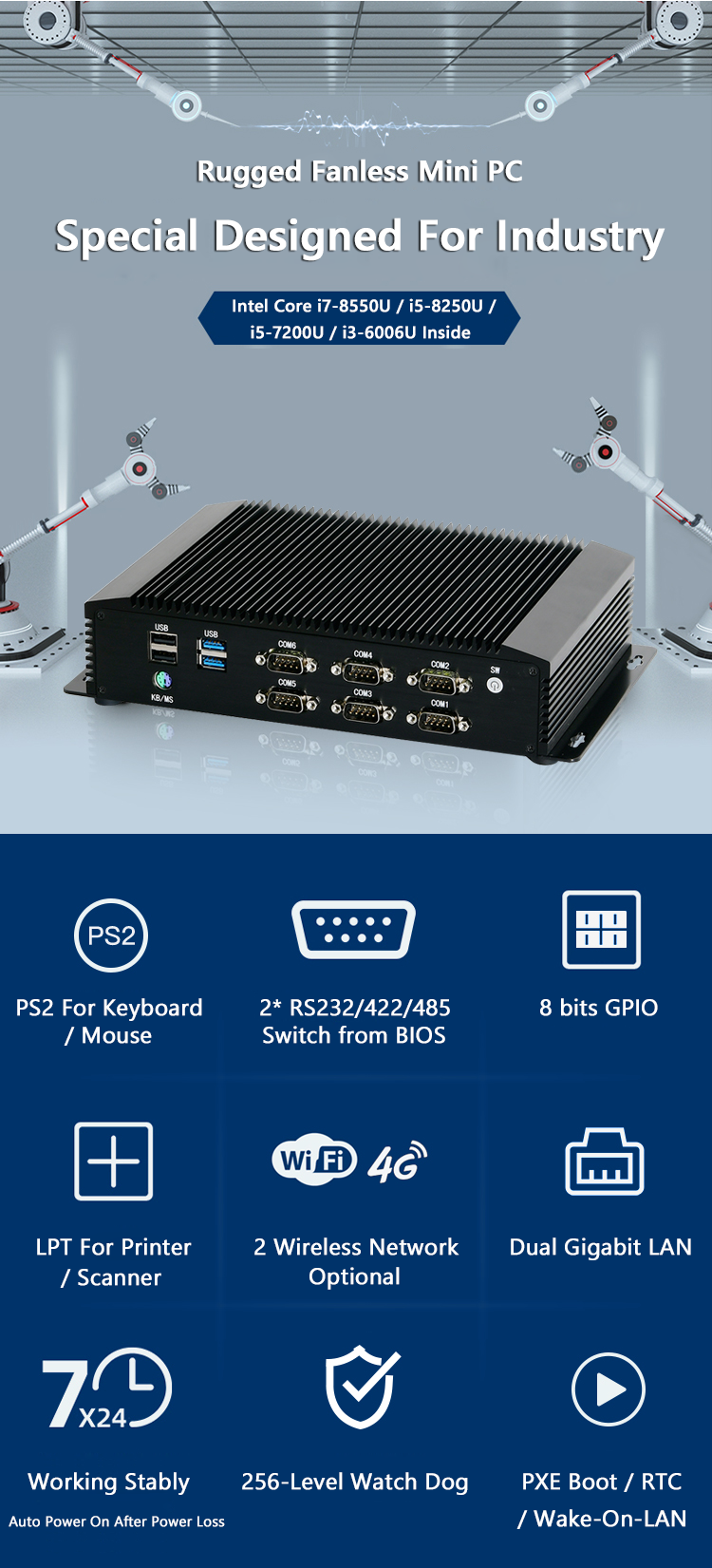 I5 8250U Quad Core Fanless PC Embedded SOC System 2 Intel LAN m-PCIe WiFi 4G Robuste Mini ITX Industrie Computer Mit GPIO RS485