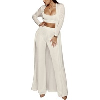Womon's 3 Piece Set Outfit Tracksuit Leisure Loose Comfortable Bodycon Crop Top High Waist Pants Long Cardigan