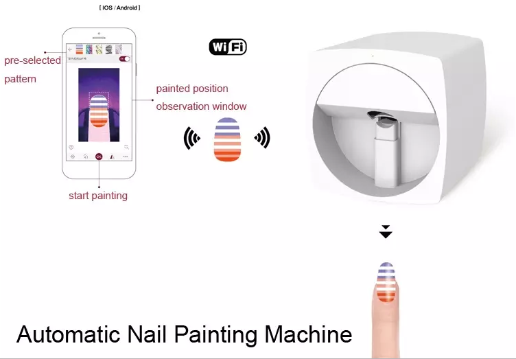 Cadeau de noël design de mode vernis à ongles machine d'impression 3d imprimante à ongles