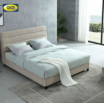 AI DI Modern Soft Bed Room Furniture Set Luxury Unique Fabric Slatted King Queen Size Bed Frames