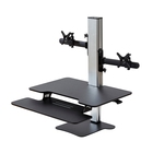Desktop converter height adjustable office desk sit stand dual monitor arm with sliding tray height adjustable office desk
