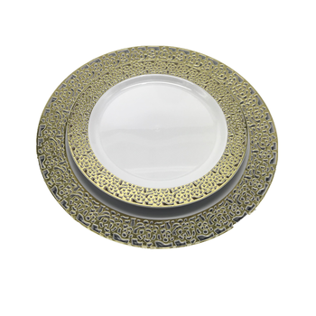 White with Silver Gold Rose Gold Lace Plastic Party Disposable Plate
