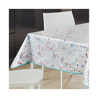 Custom Made Chinese PVC Printed White Table Cloth with Edge Binding