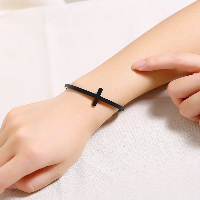 product-BEYALY-Trendy Fashion Stainless Steel Simple Adjustable Cross Bracelet-img-1