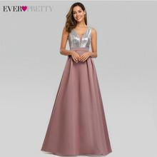 Сексуальное атласное платье для выпускного вечера Ever Pretty EZ07638, ТРАПЕЦИЕВИДНОЕ блестящее вечернее платье без рукавов с глубоким v-образным в...(Китай)