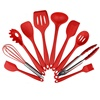 Red making cake camping cooking 10 pieces silicone kitchen utensil set silicone aluminum
