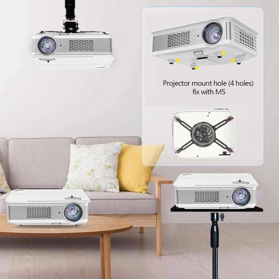 Amazon Android 6.0 Home Theatre Projector 1920X1080P 4K LED Proyektor Dukungan Wifi BT LED Projector