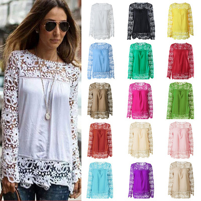 Womens Fashion Casual Chiffon Lange Mouw Tops TEE Sexy Kant Losse Blouse