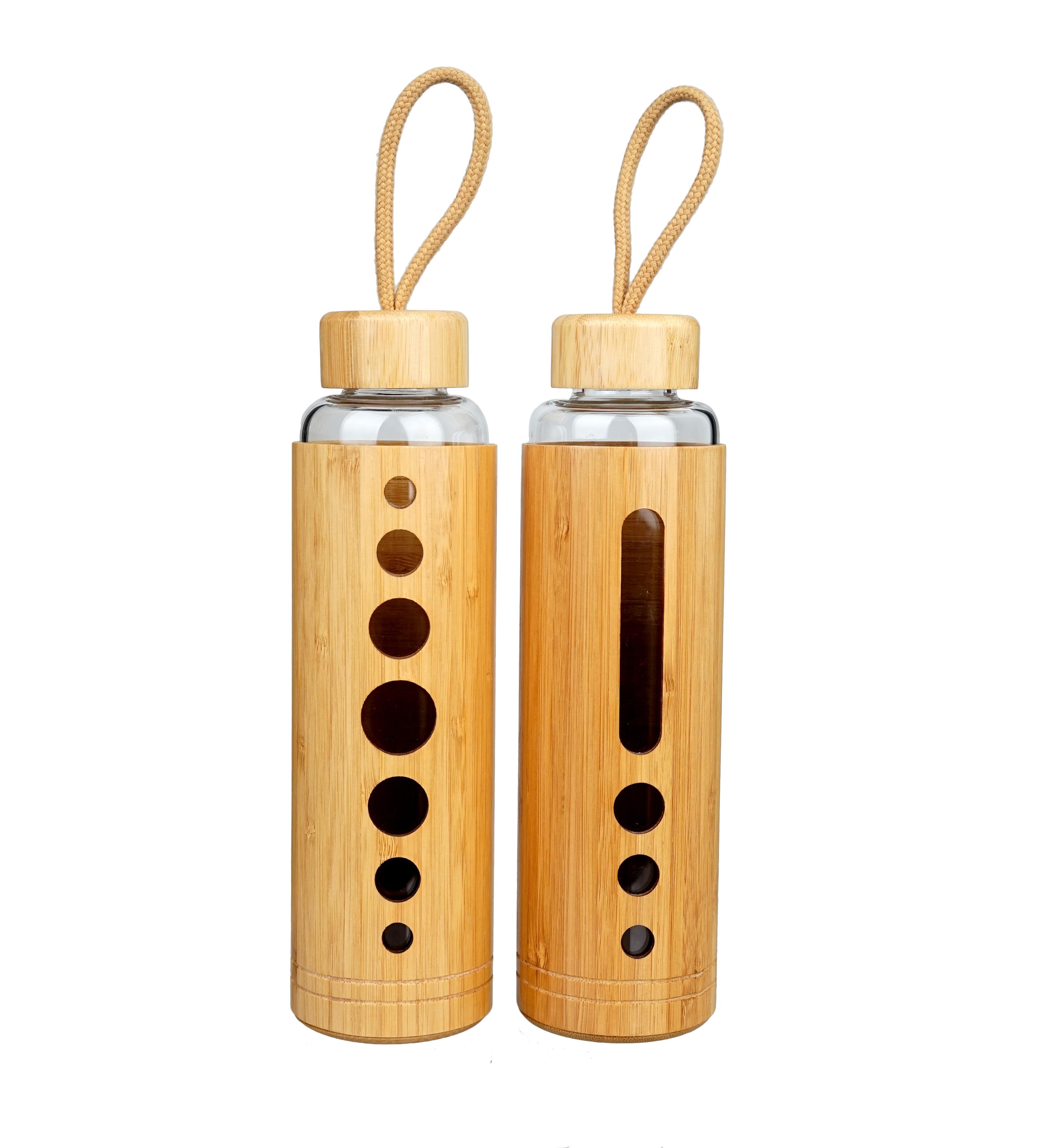 חדש עיצוב 500ml כפול קיר גבוהה בורוסיליקט זכוכית מים בקבוק עם במבוק שרוול