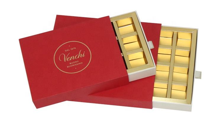 Custom print logo cardboard drawer divider chocolate package paper box