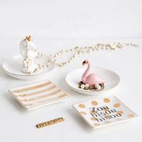 Multi Function Ceramic Unicorn Shape Dish Ceramic Jewelry Holder Accessories Tray For Girls