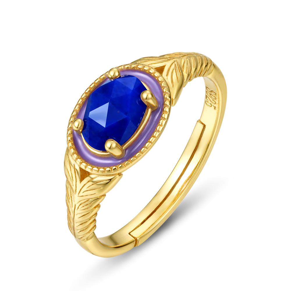 Blue Star carte 925 Sterling Silver Moon et Star Doigt Ring Shining Women Jewelry