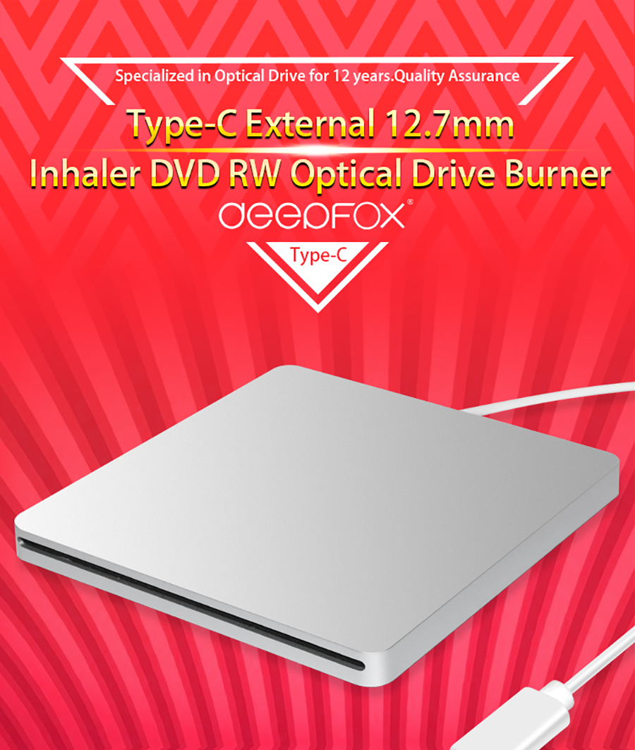 Portable External Type-C Slot in CD DVD Drive Writer