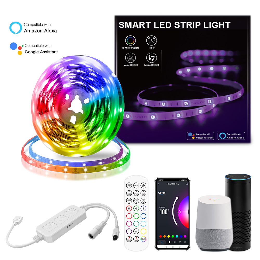 Smart RGB LED Light Strip 5M IP65 150LEDs With Controller Waterproof 5050 LED Strip Light Manufacturer Smart Life APP Light