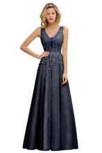 Женское длинное кружевное платье подружки невесты с v-образным вырезом Dusty Rose, Vestido, свадебное платье для вечеринки, robe de soirée de mariage vetement femme(Китай)