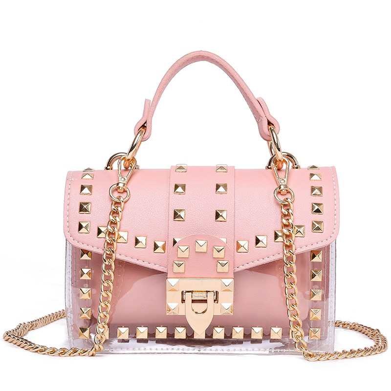 Fashion Messenger Bag Chain Female Rivets Transparent Square Pvc Handbag Clear Jelly Bag Shoulder Bag, Multicolor