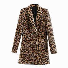 Женский двубортный Блейзер KPYTOMOA, винтажный Леопардовый блейзер с длинным рукавом и животным принтом, верхняя одежда, 2020(Китай)