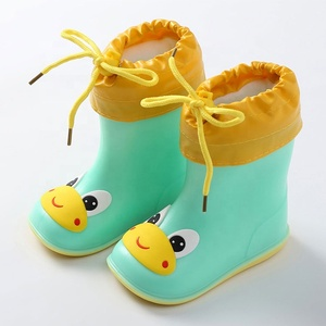Cartoon animal Yellow Blue Green Pink Baby Girls Rain Boots Shoes