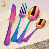wholesale colorful Wooden box 24 pcs vacuum plating cutlery set