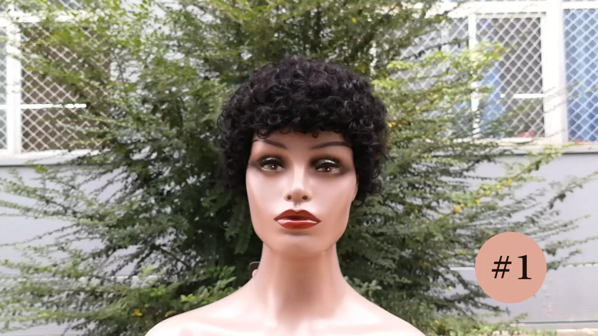 Lida Wig Rambut Manusia Pendek Jerry Ikal 100% Rambut Manusia Peru 6631 Wig Afro Pixie