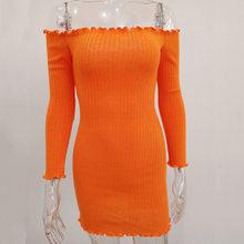 Женское трикотажное платье с длинным рукавом, облегающее мини-платье с ребристыми оборками, simenual(Китай)