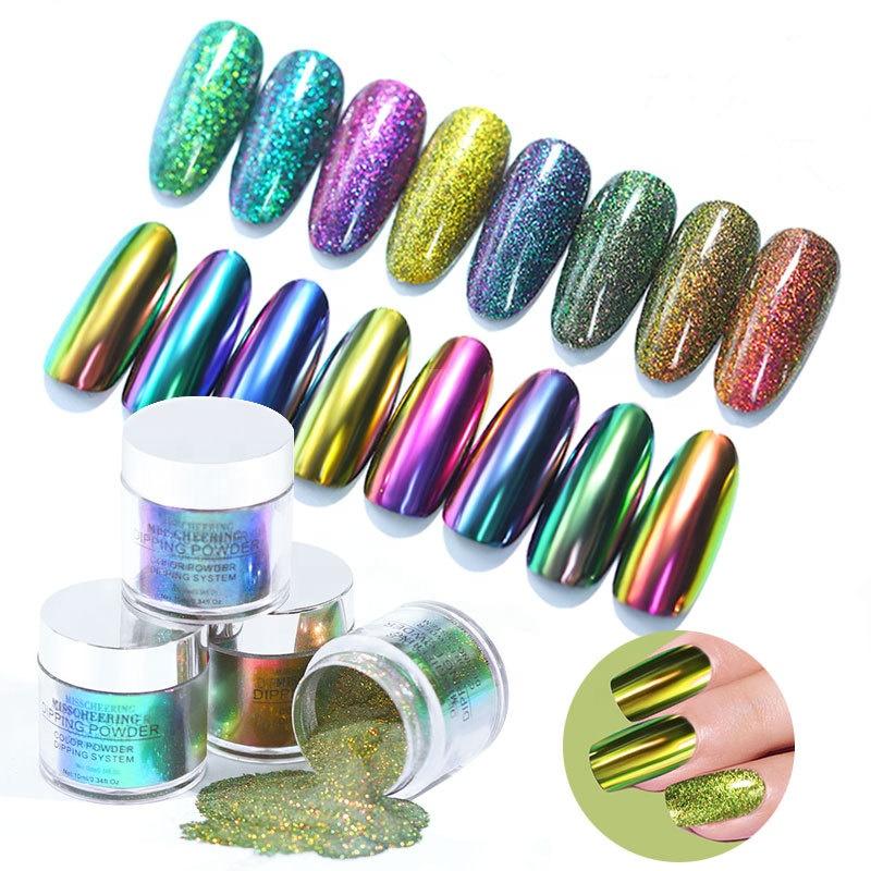 Salón de belleza 10ml Auroral infiltrarse en brillo degradado de inmersión en polvo sin lámpara cura francés seco Natural decoración de Arte de uñas