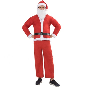cheap christmas party fancy dress adult man santa claus cosplay mascot costume set for men