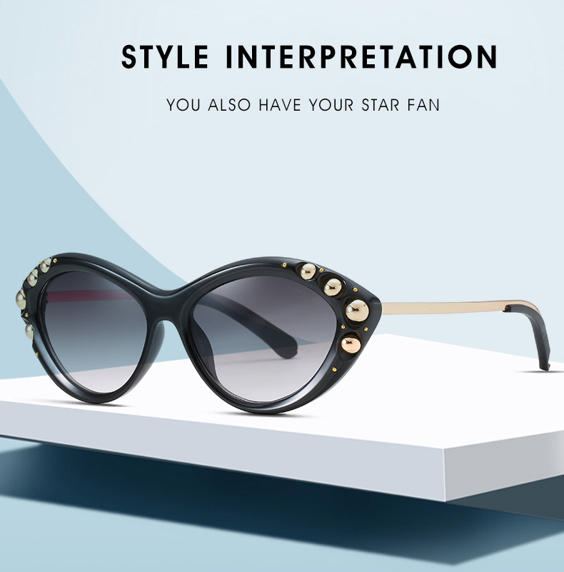 Custom Logo Popularity Photochromic Rivet Women Cat Eye Sunglasses