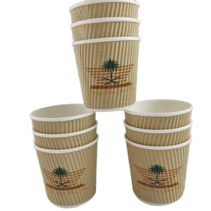 Various sizes paper ripple wall paper cup with lid
