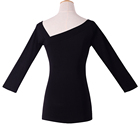 women's autumn crop top solid long sleeve dissymmetry neck T-shirt